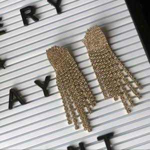 Rhinestone long earrings